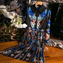 Summer Fashion Runway Vintage Women A Line Dress Lapel Butterfly Print Ladies Slim Pleated Midi Dresses Vestoidos