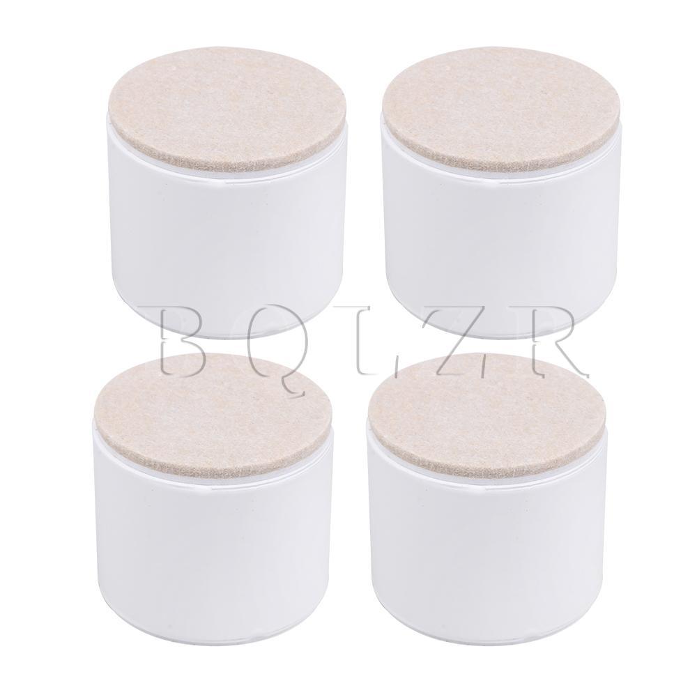 BQLZR 4pcs 60x53mm Carbon Steel White Furniture Legs Lifter Self Adhesive