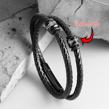 Personalized Stainless Steel Charm Bracelets Genuine Leather Braided Rope Men Bracelet Custom With 2 Name Beads Husband Gift personalized custom names men braided rope genuine leather magnetic buckle bracelet with stainless steel beads husband gift