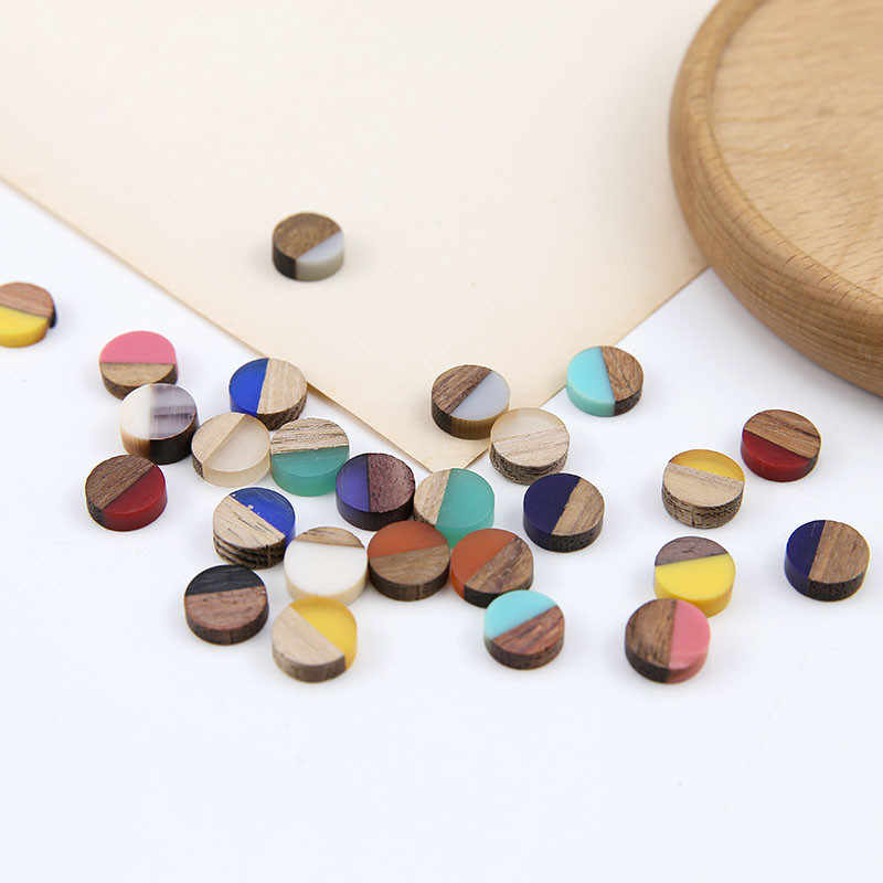 10pcs 2019 korean fashion stitching contrast color wood and resin round patch earrings bracelet material jewelry accessories
