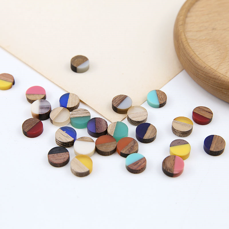 10pcs 2020 Korean Fashion Stitching Contrast Color Wood And Resin Round Patch Earrings Bracelet Material Jewelry Accessories