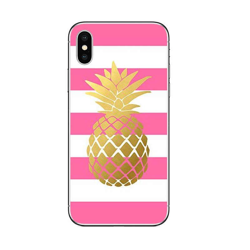 Hoa hồng hào hơn vàng dứa đá cẩm thạch Ốp lưng điện thoại Iphone SE 5 5S 6 7 8 6 S Plus x XR XS Max Silicone mềm mại TPU thời trang Cover