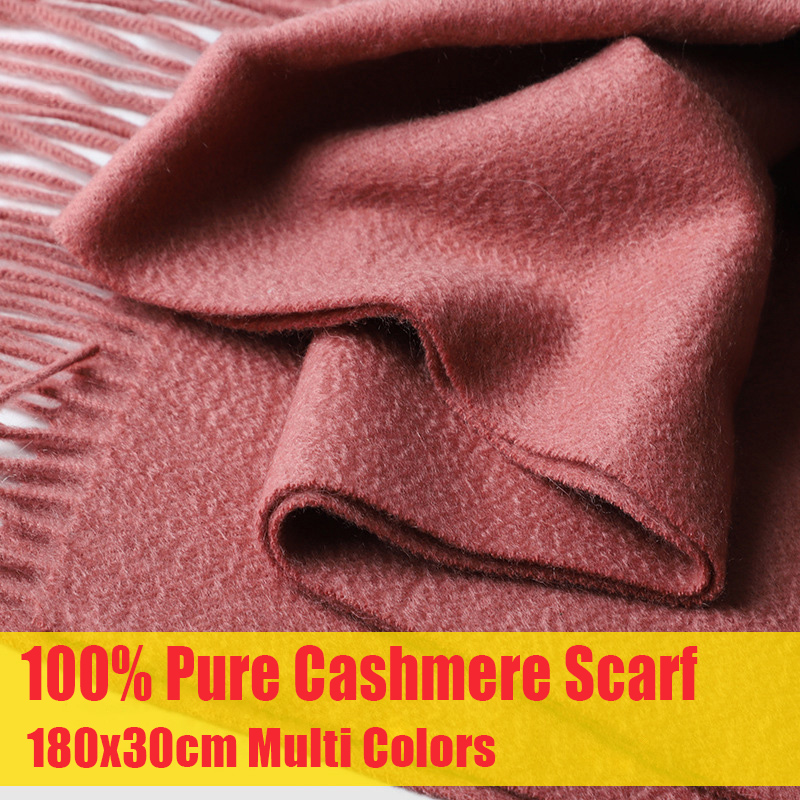 100% Pure Cashmere Scarf for Women Men Unisex Scarves for Gift Red Cashmere Wraps with Tassel Winter Solid Color Scarf Cashmere