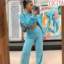 InstaHot Drawstring Velvet Blue Tracksuit For Women Winter Crop Hoodies Top And Wide Leg Pants Set 2 Piece Outfit Matching