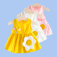 Baby girl clothes dress baby clothes fashion new children Vestidos sunflower flower accessories 2020 hot sale quality kids' wear beautiful carnation flower vest dress runway vintage key dress vestidos infantis baby girl clothes 8002