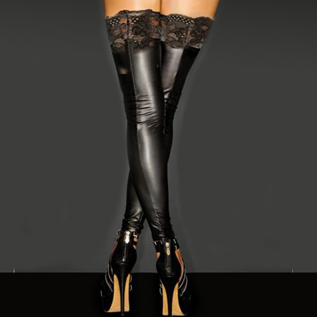 Women Sexy Lace Stay-Up Stocking Lady Wet Look  Faux Leather Party Thigh High Stockings носки