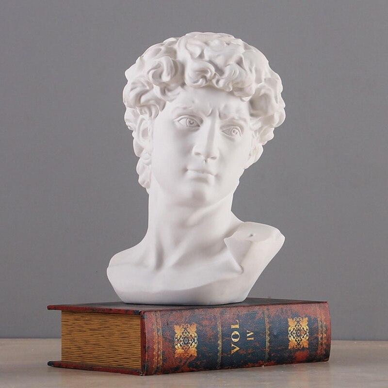 Mitología griego David cabeza busto estatua Mini Europa Michelangelo decoración del hogar resina arte escultura Sketch práctica regalo