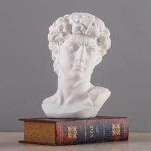 Mitologia grecka David głowa popiersie Mini europa Michelangelo dekoracja wnętrz sztuka z żywicy rzemiosło rzeźba szkic praktyka prezent tanie tanio KESSZAL Ludzi Żywica Height 15CM