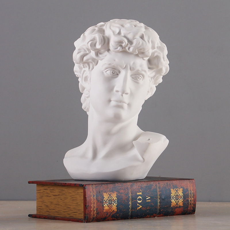 Yunan mitolojisinde David baş büstü heykeli Mini avrupa Michelangelo ev dekorasyon reçine sanat zanaat heykel kroki uygulama hediye