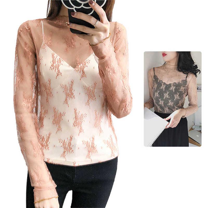 女性セクシーなマッシュ花刺繍フルスリーブメッシュトップス女性は首輪シャツ秋 Btreathable エレガントなトップスシャツ