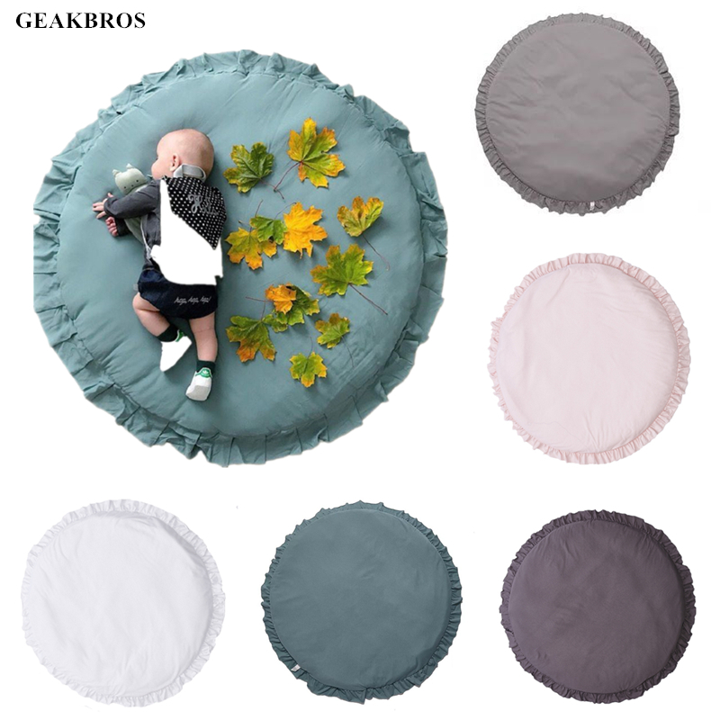 100CM Baby Infant Play Mats Kids Round Crawling Carpet Floor Rug Baby Bedding Blanket Cotton Play Game Pad Children Room Decor