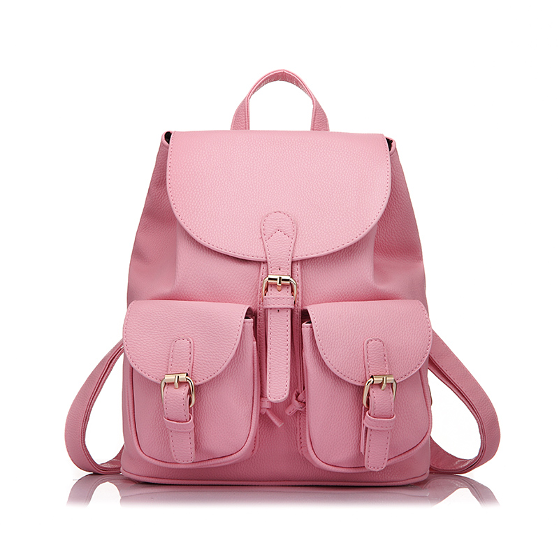 LOVEVOOK Women Backpack Preppy Style School Backpack For Teens Girls Artificial Leather Fashion Backpack With Two Solid Pocket