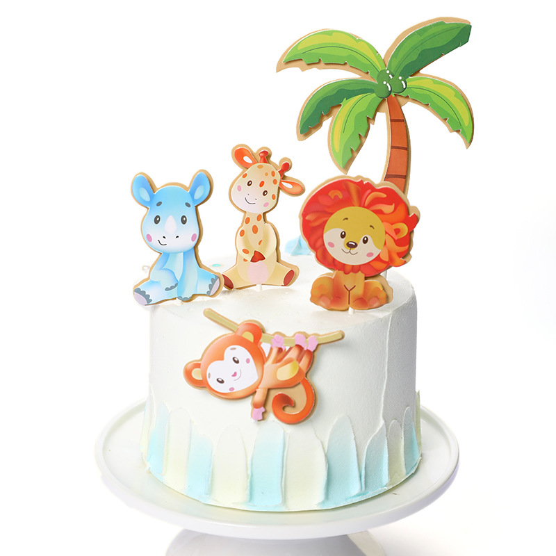Phenomenal 1 Set Animals Safari Birthday Cake Topper Forest Lion Monkey Theme Funny Birthday Cards Online Overcheapnameinfo