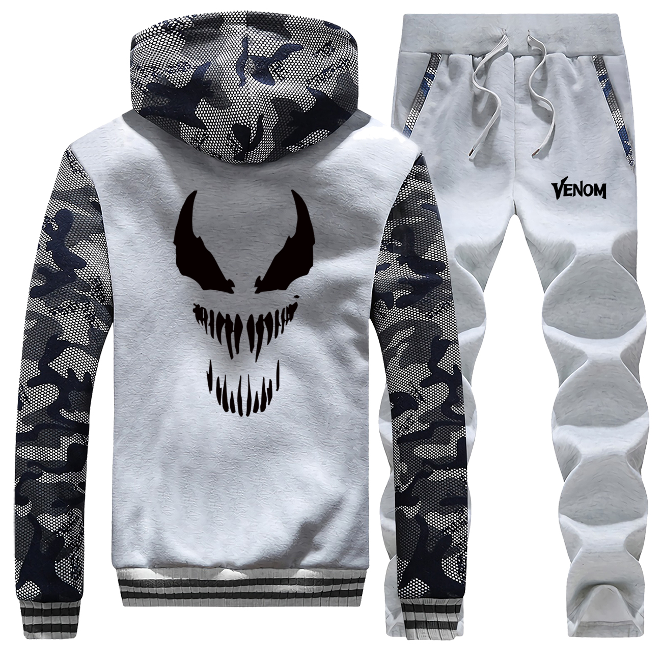 Venom Marvel Mens Two Piece Set Male Warm Hooded Coats Sports Pants Autumn Winter Fleece Jacket Street Sweatpants Brand Clothes