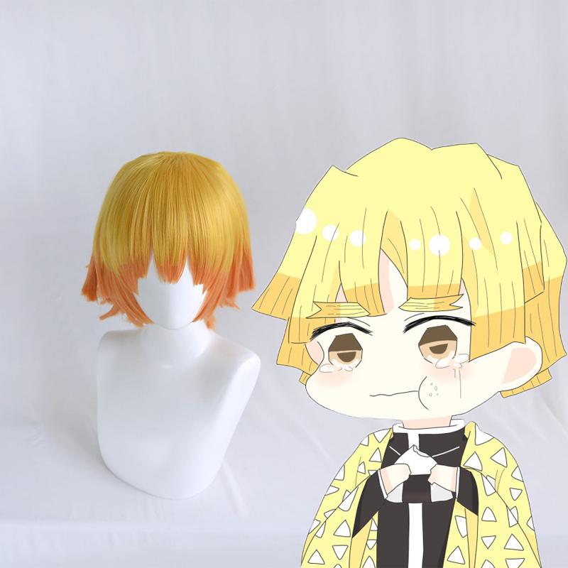 Anime Demon Slayer Kimetsu No Yaiba Cosplay Wigs Zenitsu Agatsuma Cosplay Wig Synthetic Wig Hair Halloween Party Blade Of Demon in Costume Props from Novelty Special Use