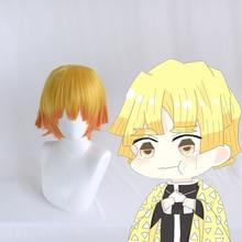 Anime Demon Slayer Kimetsu No Yaiba Cosplay Wigs Zenitsu Agatsuma Wig Synthetic Hair Halloween Party Blade Of
