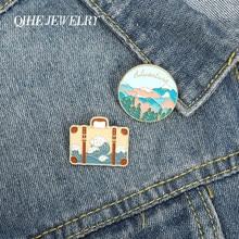 Tłoczona fala torebka Cartoon emaliowane przypinki las górski broszki modne odznaki szpilki prezenty dla przyjaciół biżuteria hurtowych