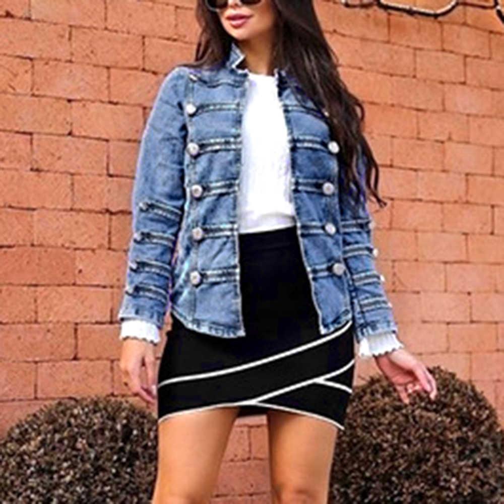 LAAMEI 2019 Осенняя Женская двубортная стимпанк Готическая панк джинсовая куртка пальто светло-Синяя женская верхняя куртка джинсы