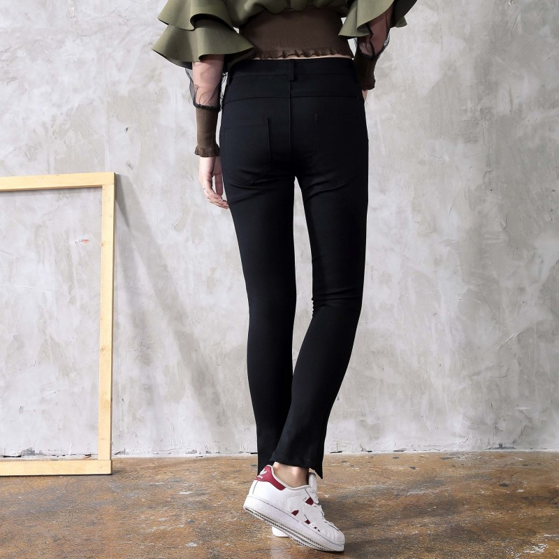 High Street New Zipper Split Denim Pencil Pants Buttons Stretchy Skinny Jeans Woman Black Casual Long Trousers Female Bootcuts