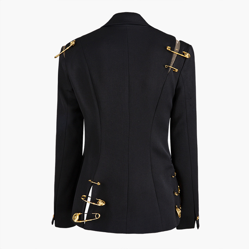 EAM Loose Fit Black Hollow Out Pin Spliced Jacket New Lapel Long Sleeve Women Coat [EAM] Loose Fit Black Hollow Out Pin Spliced Jacket New Lapel Long Sleeve Women Coat Fashion Tide Autumn Winter 2019 JZ500