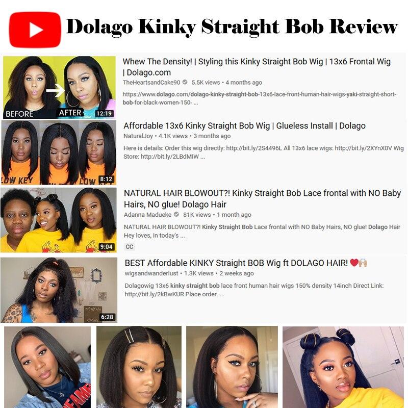 Kinky Straight 13x6 Lace Front Human Hair Wigs For Women 180 Density Coarse Yaki Brazilian Short Bob Wig Dolago Black Full Remy