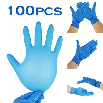 100PC nitrylowe jednorazowe rękawice wodoodporne lateks bezproszkowy rękawice do gospodarstwa domowego do kuchni do jedzenia laboratorium serwis rękawice do czyszczenia tanie i dobre opinie VVavEors CN (pochodzenie)