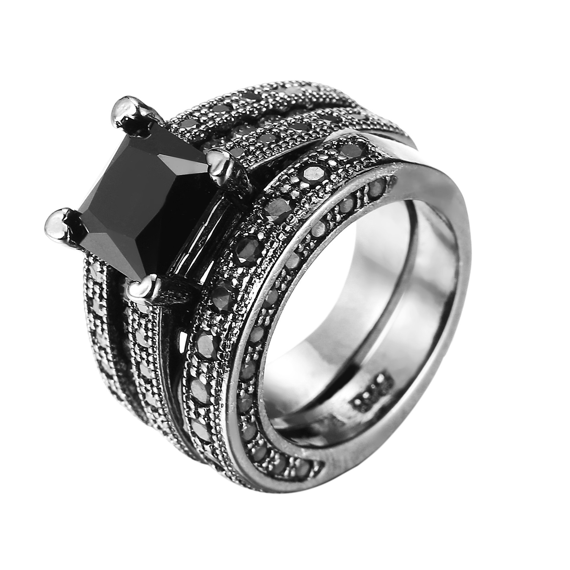 Black Ring Engagement-Ring 925-Silver jewelry Promise Fashion Women New Foydjew Suit