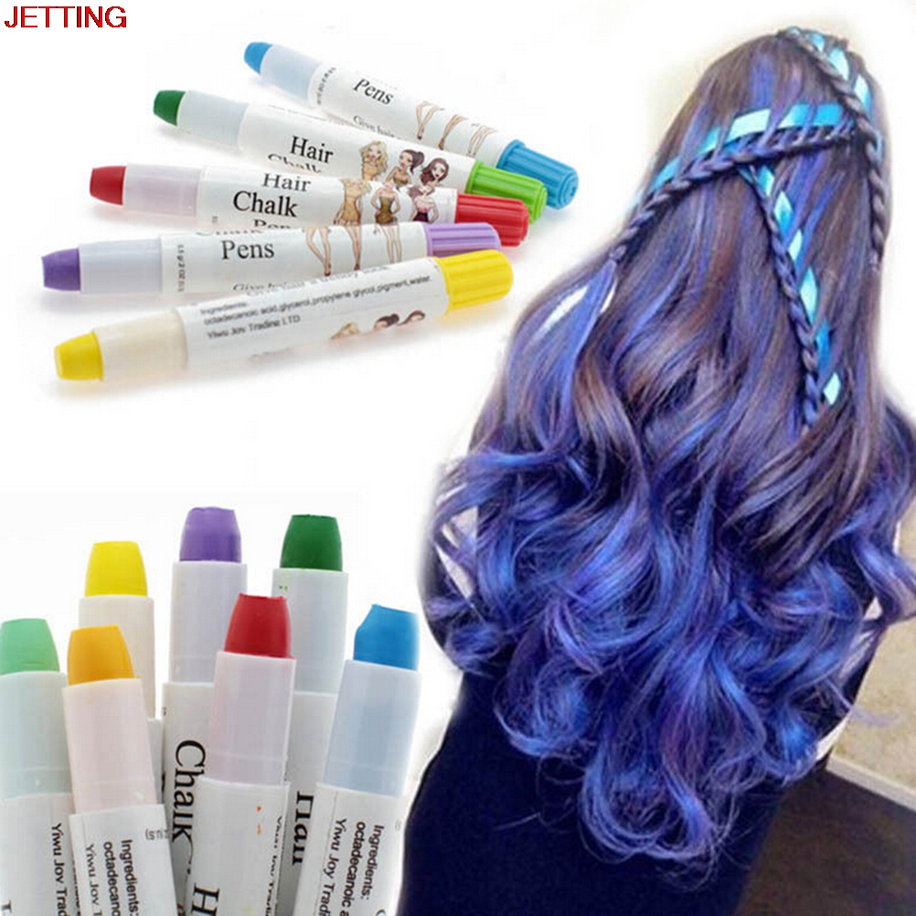Women Beauty Hair Color Safety Hair Dye Color Temporary Non-toxic DIY Hair Cream Party Dye Pen colored chalk for hair 6 Colors