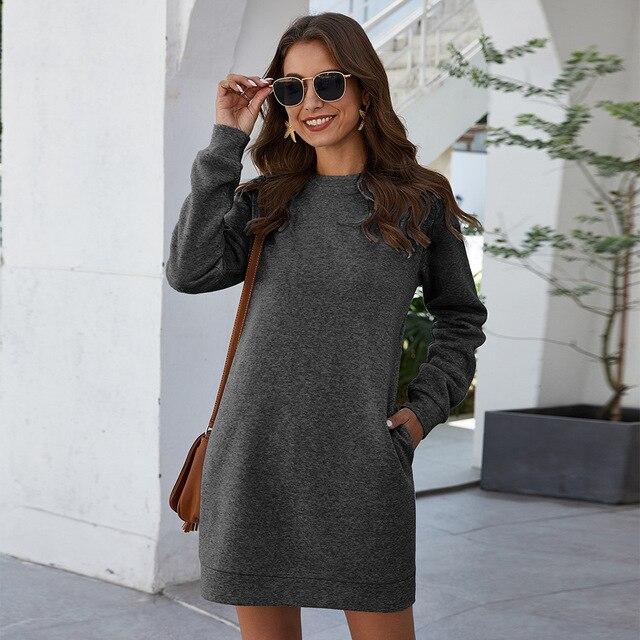 Платье для женщин толстовка теплая детская одежда с длинным рукавом на осень и зиму; Большие Размеры с О-образным вырезом теплые свободные однотонные Цвет Карманные женские платья 2020 модная новинка 5