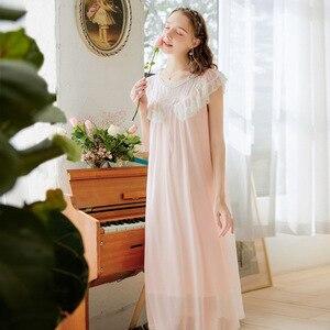 Image 4 - Roseheart Vrouwen Vrouwelijke Rood Roze Sexy Nuisette Nachtkleding Homewear Night Dress Lange Kant O Hals Nachtkleding Nachtjapon