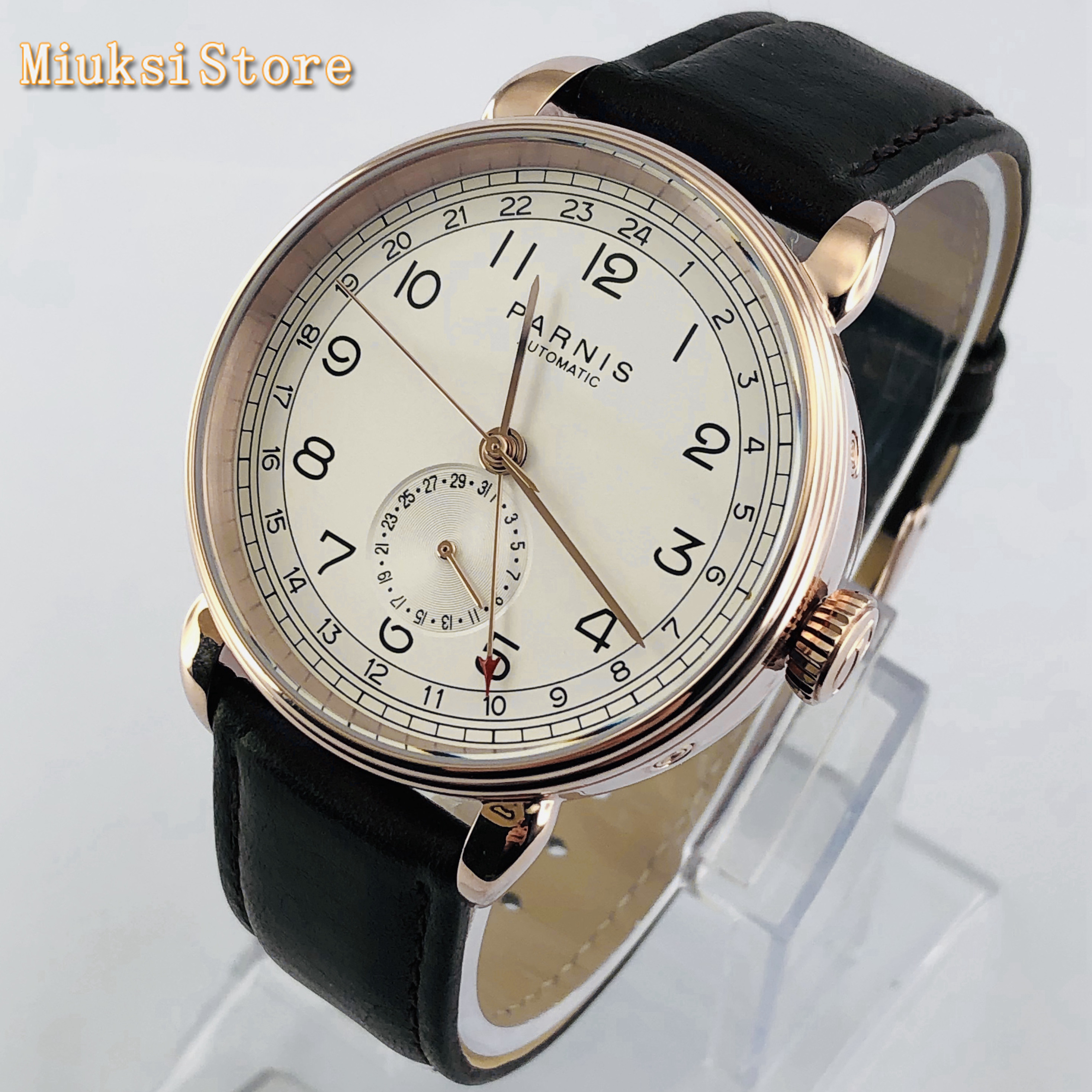 Parnis 2019 new top mens automatic mechanical watch 42mm rose gold case GMT arab mark date window leather mens watches