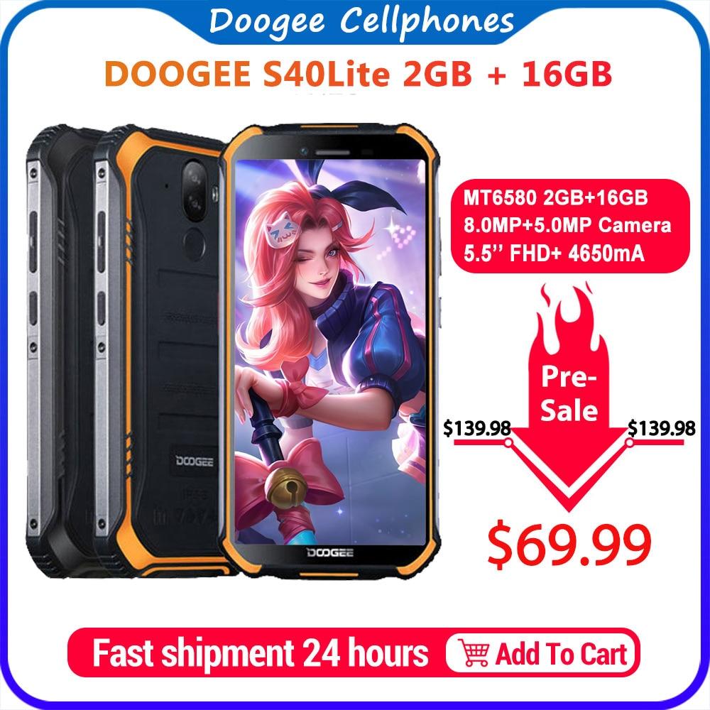IP68 DOOGEE S40 Lite Rugged Phone Mobile Phone 5.5inch Display 4650mAh 8.0MP Fingerprint Quad Core 2GB 16GB Android 9.0