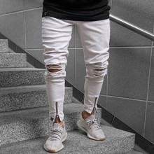 Summer Classic Fashion Hip hop Men Hole Stretch Denim pants Ripped Beggars Skinny Bottom zipper Jeans(China)