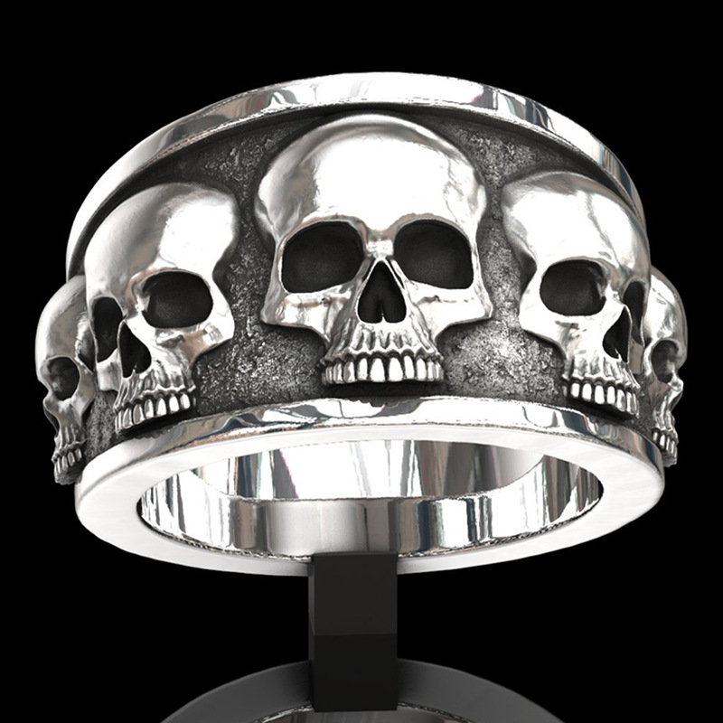Мужское кольцо с черепом из серебра 925 пробы, подарок для праздничного банкета, Винтажное кольцо для мужчин
