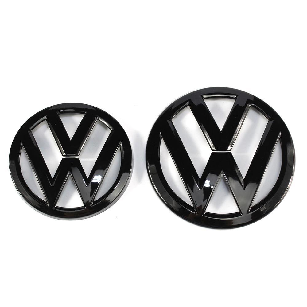135 мм глянцевый черный значок на переднюю решетку + 110 мм глянцевый черный логотип на крышку багажника для VW Volkswagen Golf MK7
