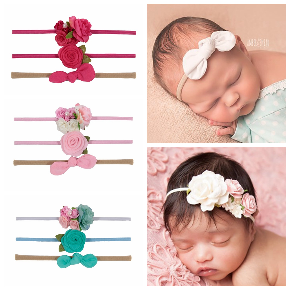 New 3pcs/lot Chiffon Bow Leaf Flower Nylon Baby Headband Rose Floral Newborn Headwear Baby Girls Children Hair Accessories