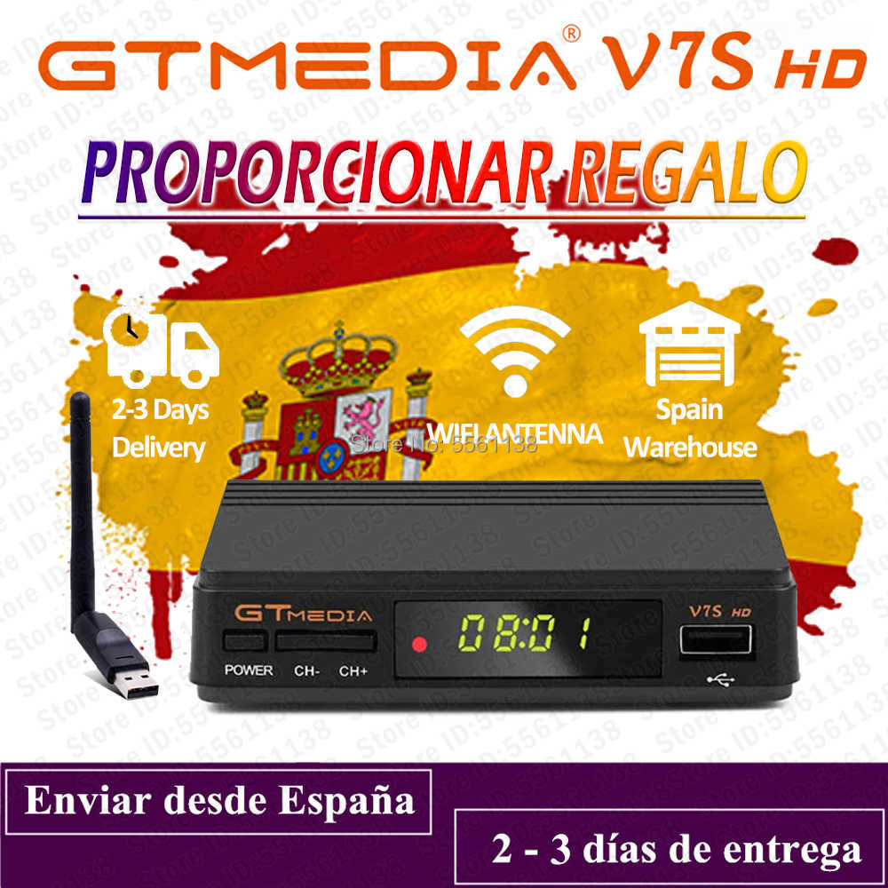 1080P Digital GTmedia V7S HD Recettore DVB-S2 H.265 HD Decoder fornire regalo GT media v7s HD nessun app incluso