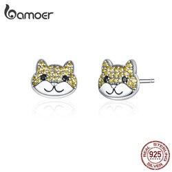 Bamoer bonito cão parafuso prisioneiro brincos para mulher prata 925 jóias shiba animal prata esterlina moda bijoux 2019 novo bijoux sce769