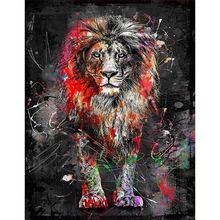 Diy картина по номерам лев маслом Раскраска на стену для домашнего