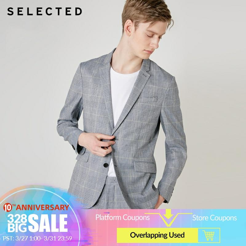 SELECTED Men Assorted Colors Plaid Notched Collar Slim Fit Blazer  S|419272512