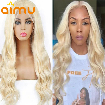 Body Wave Blonde Human Hair Lace Front Wig HD Transparent Brazilian 613 Lace Frontal Wig Glueless Preplucked With Baby Hair image