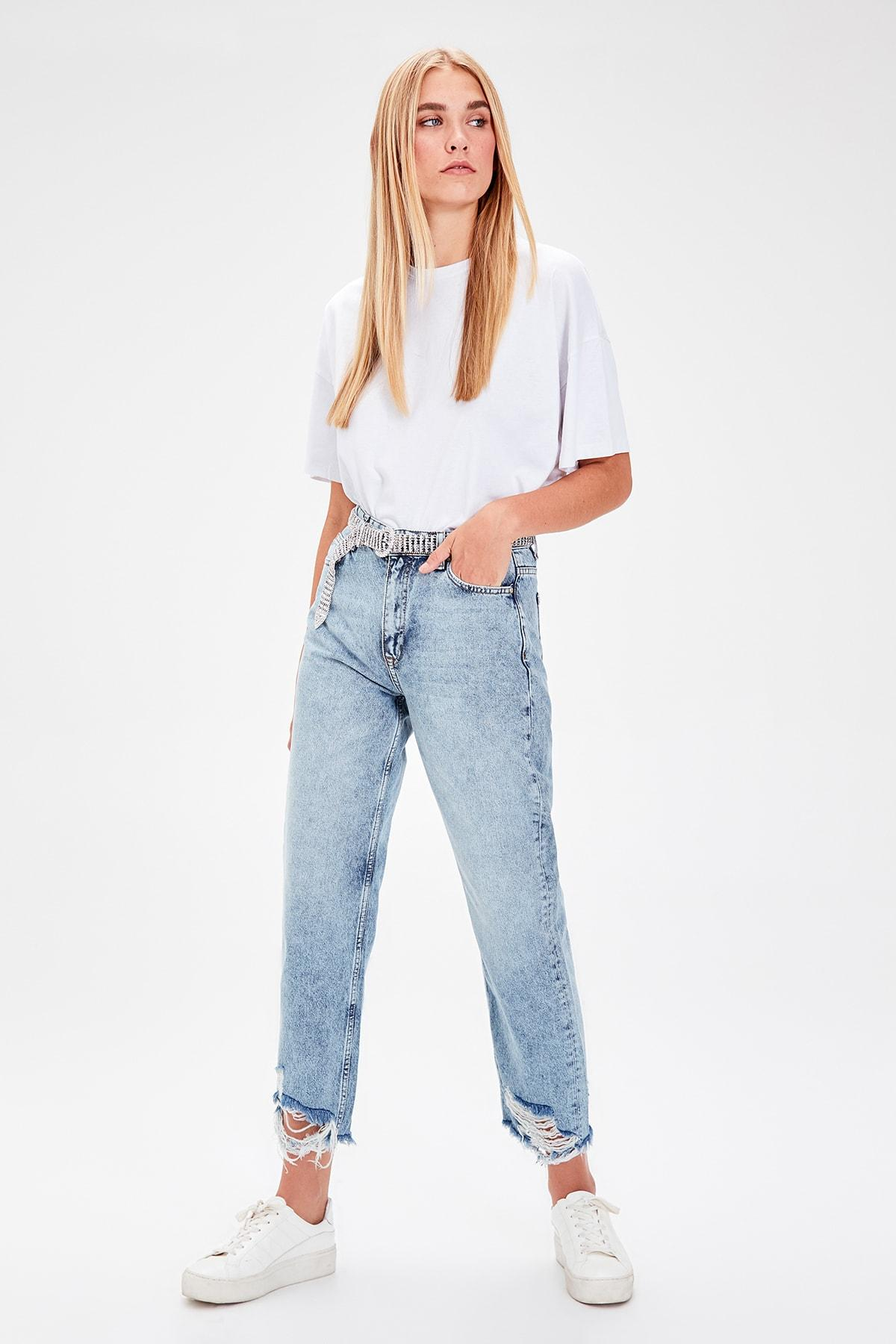 Trendyol Mavi Pettitoes Yırtıklı High Bel Straight Jeans TWOAW20JE0066