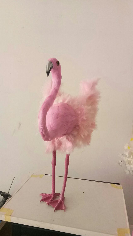 Simulation créative flamant modèle mousse & plume rose vif flamant poupée environ 48cm