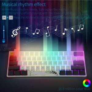 Image 2 - GK61 Mini teclado mecánico portátil Panda para videojuegos, teclado inalámbrico con Bluetooth para jugadores, con iluminación RGB mixta, Gateron, eje de interruptor