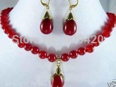Trasporto Libero All'ingrosso>> Nuovo!! Set Genuine Gioielli di Giada rossa orecchini pendenti di collana