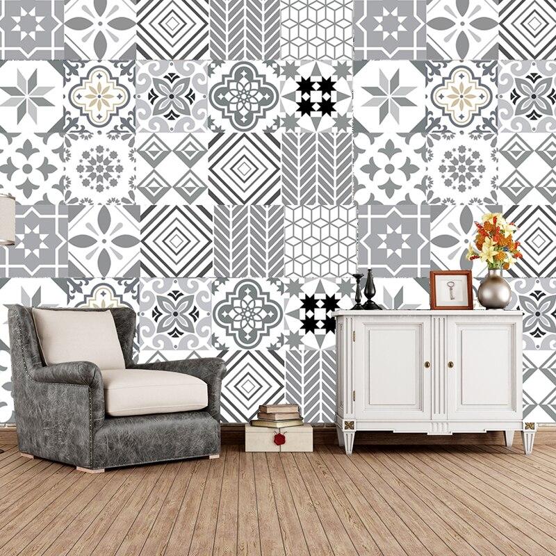 Gris géométrie motif carrelage plancher escalier autocollant salle de bain cuisine décoration étanche autocollant mural Peel & Stick Art papier peint