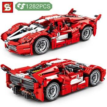 Bloques de construcción de vehículo de tráfico de alta tecnología para niños, modelo de coche de carreras rojo 488, con energía, DIY, juguetes regalos de vacaciones
