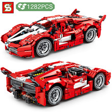 Building Block High-tech Traffic Vehicle Red 488 Racing Car Model Bring Back Power DIY Toys Holiday Gifts for Boys kids