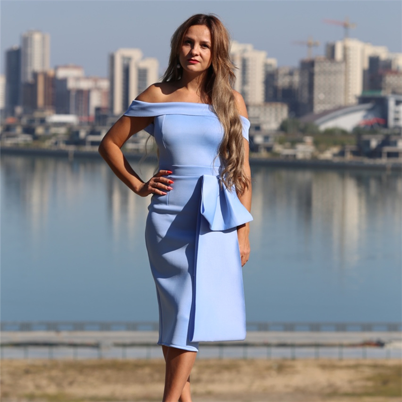Women Bodycon Dress Slim Off Shoulder Sexy Date Night Celebrate Party Clubwear Dinner Elegant Tight Backless Evening Slim Tunic