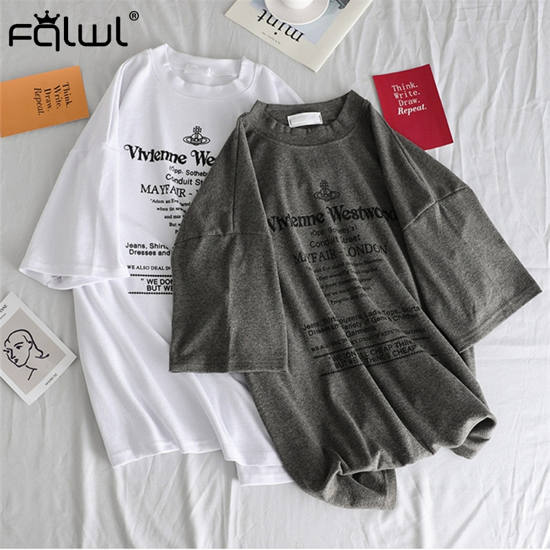FQLWL Letter Print Cotton Ladies White Oversized T Shirt Women Tee Shirt Harajuku Tshirt Female Top Summer T-shirt Pulovers 2019